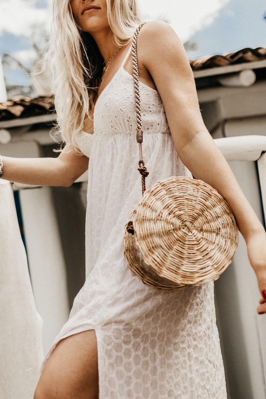 women's white v-neck spaghetti-strap dress
