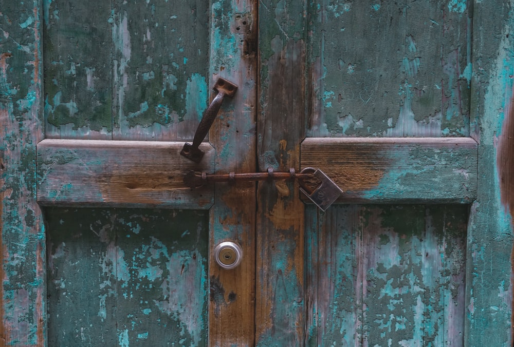 teal wooden door