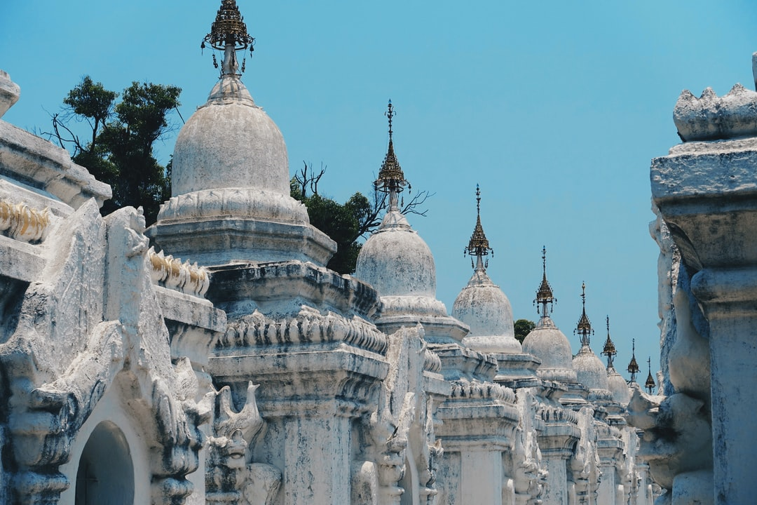 Buddhist stupas at Kuthodaw Pagoda located at the foot of Mandalay Hill