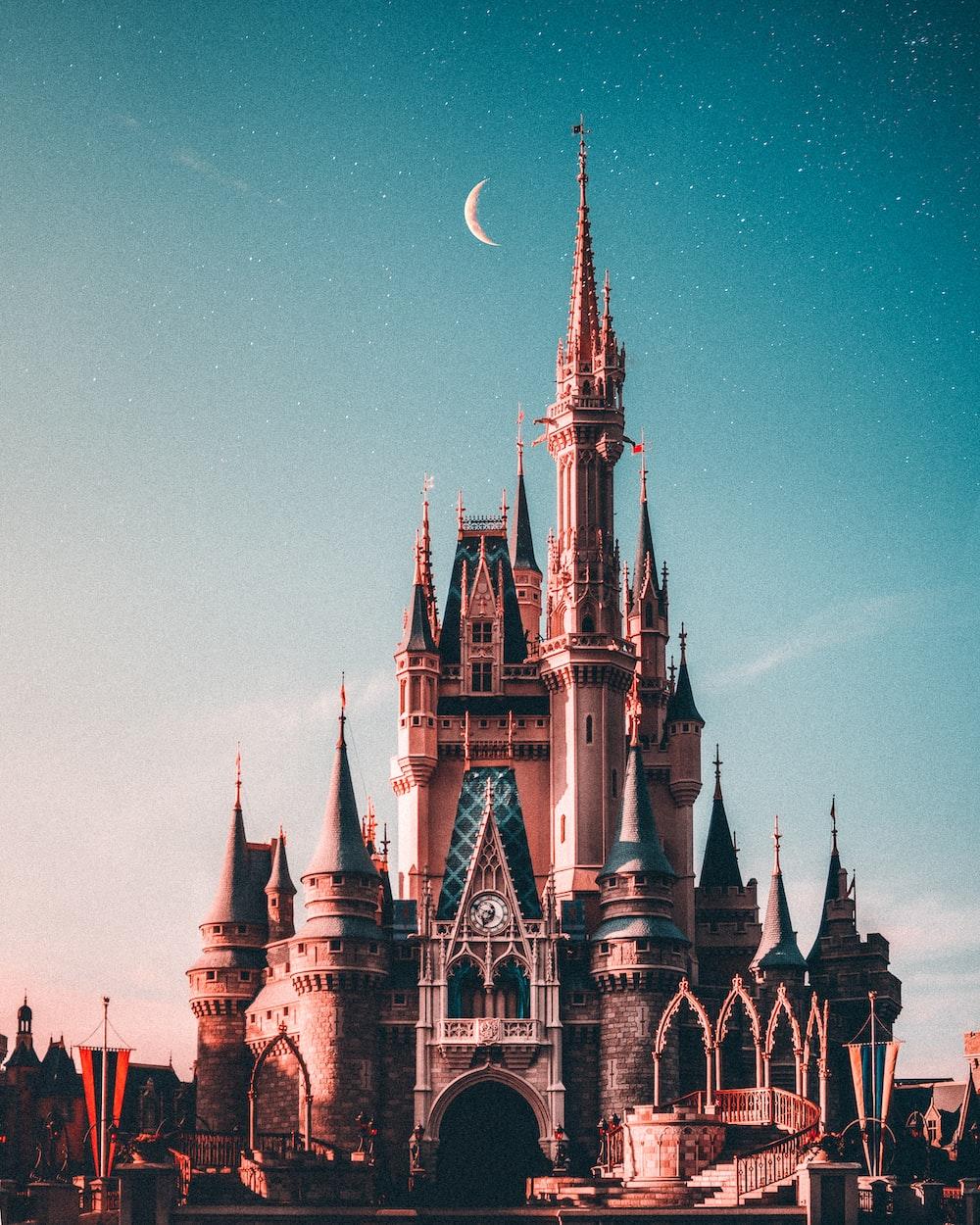 blue and beige Disneyland castle