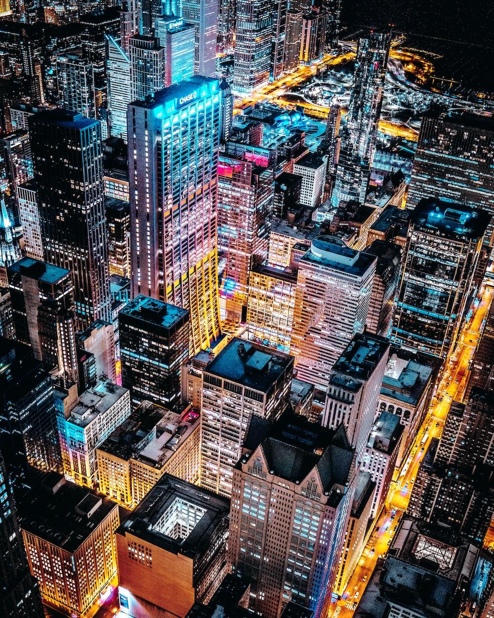 aerial photo of concrete buildings
