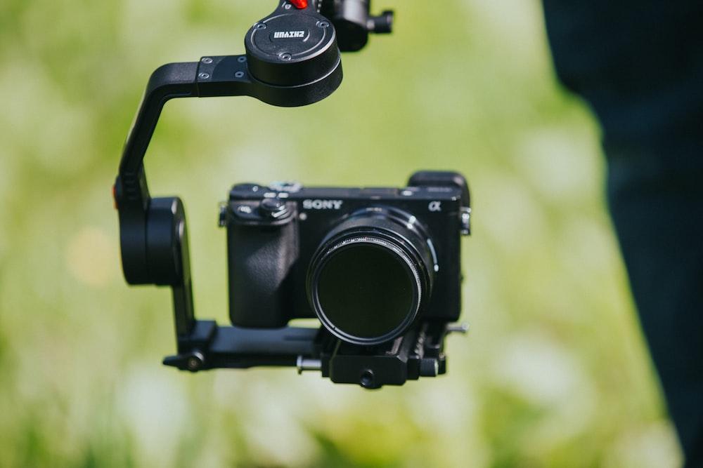 black Sony bridge camera with gimbal