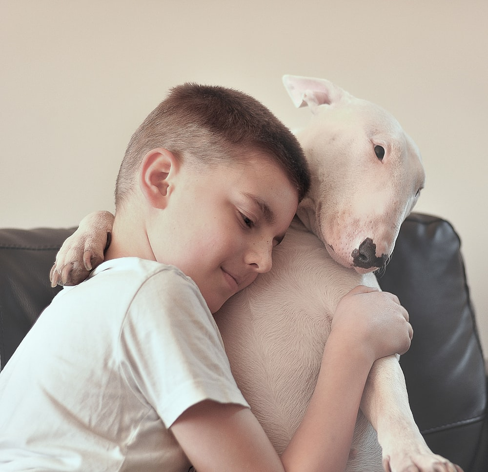 kid hugging a white dog in a room