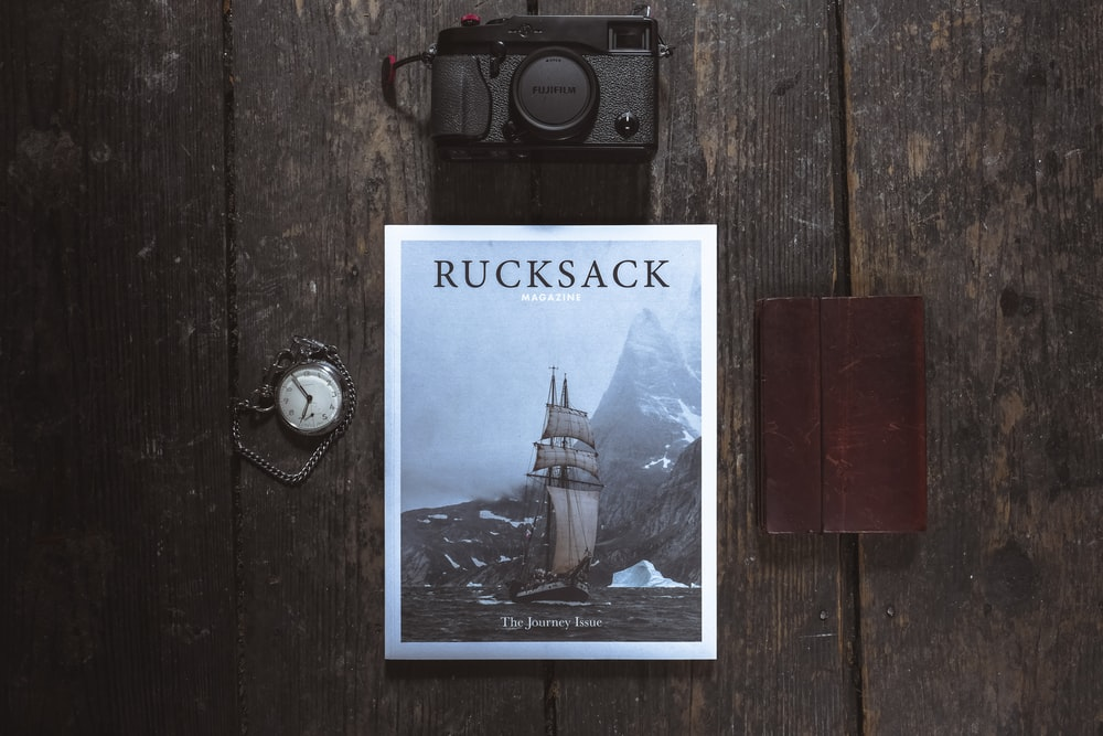 Rucksack book on brown wooden surface