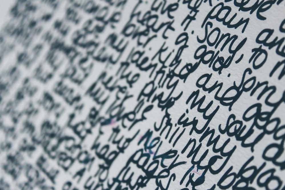 black text