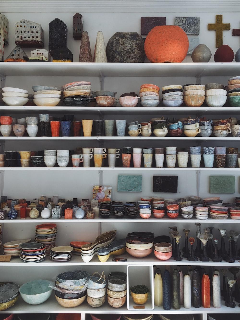 ceramic utensils lot close-up photography