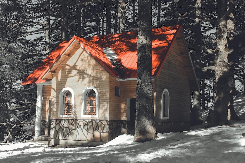 orange and beige house near woods