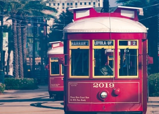red and white tram