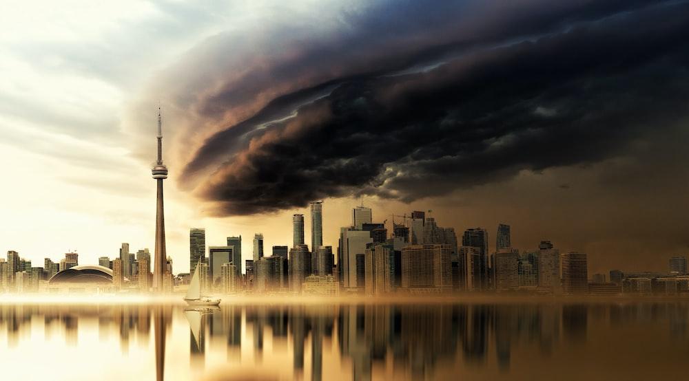 cityscape under black sky