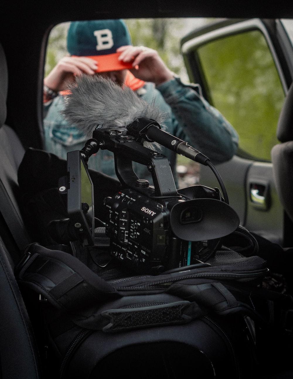 black video camera inside the vehicle