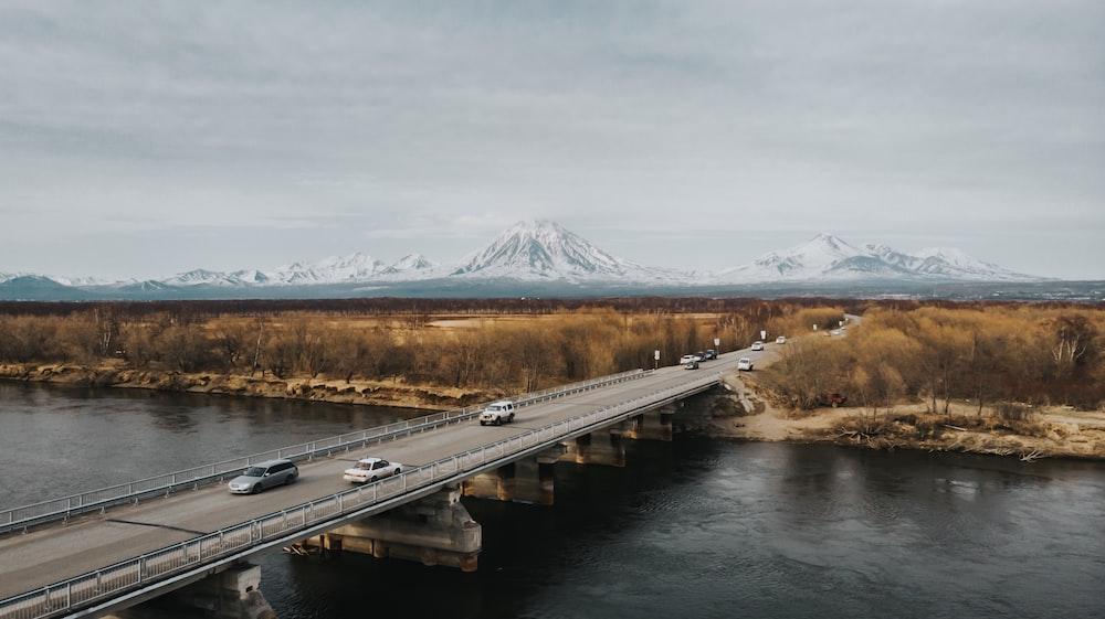vehicles on bridge during day