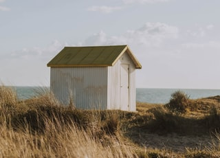 white wooden shed