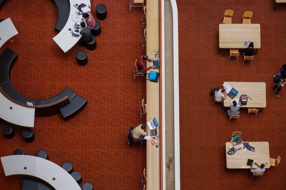 people sitting on table set