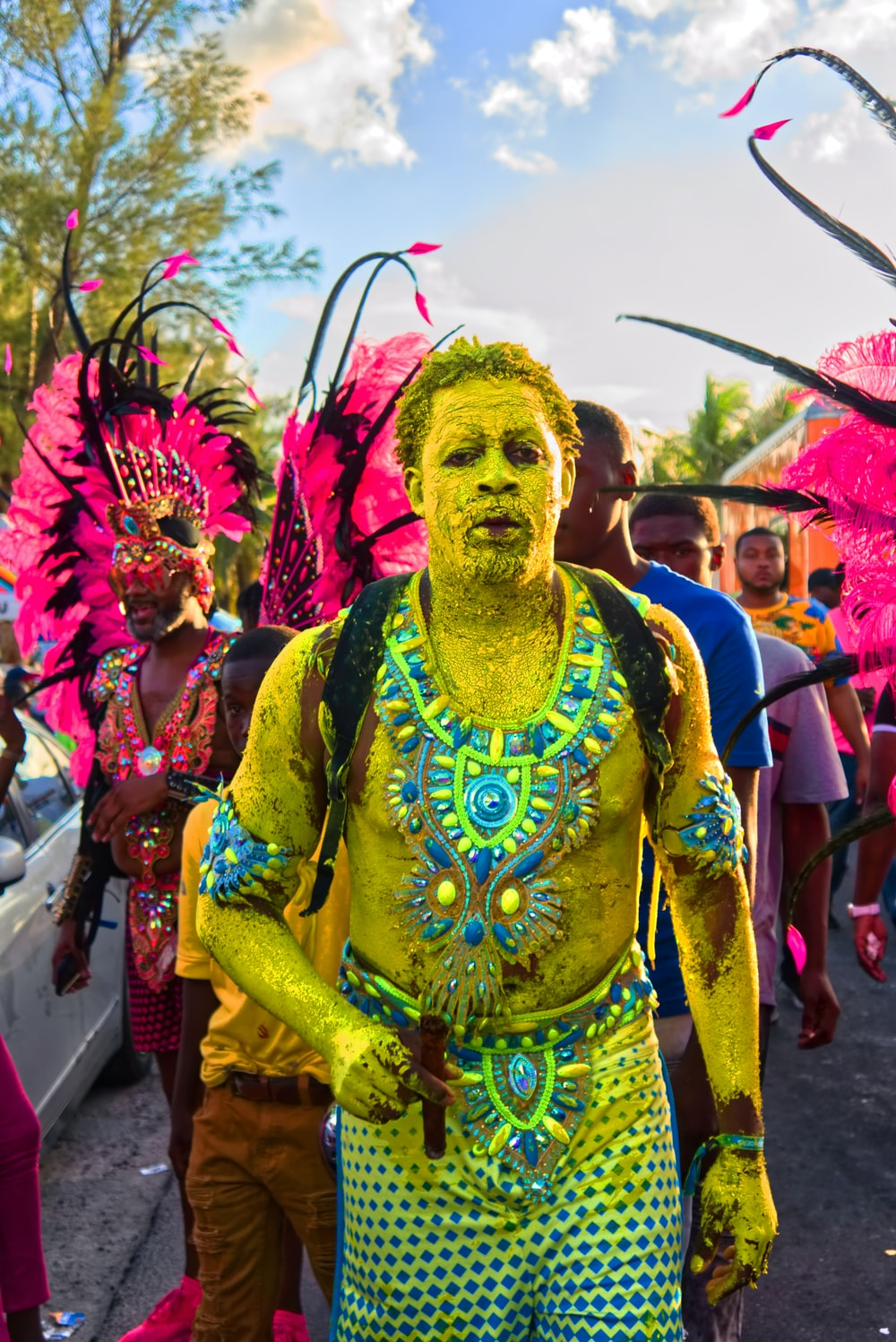 man with yellow body paint