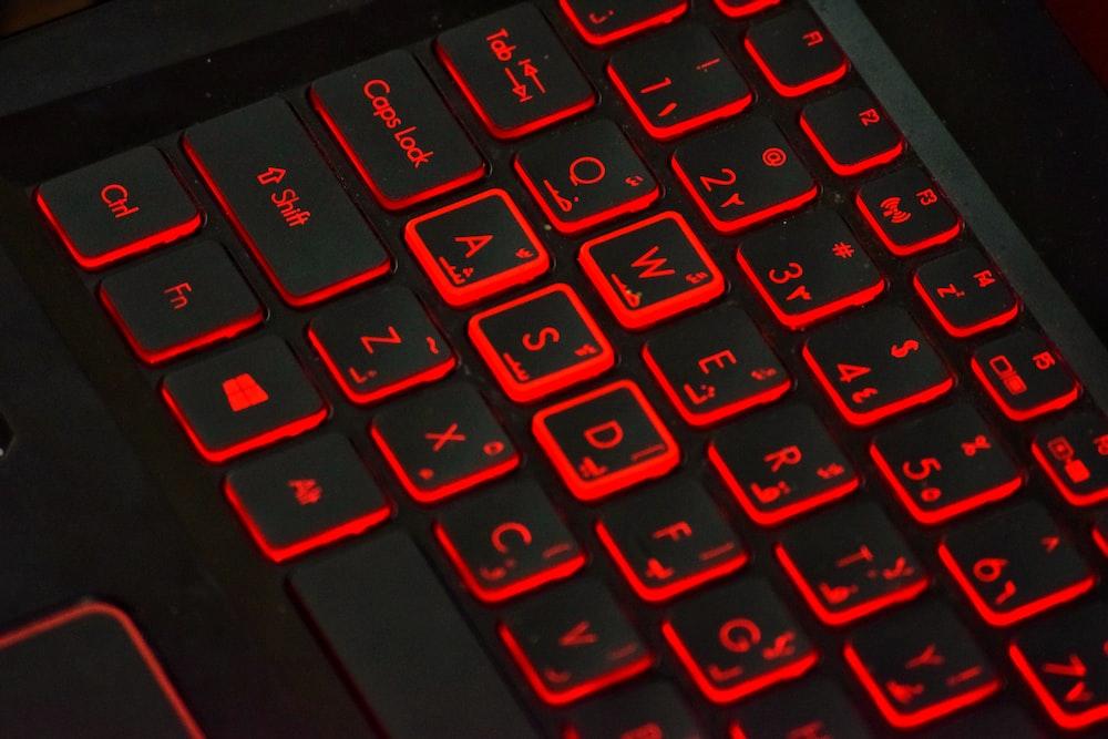 black laptop keys