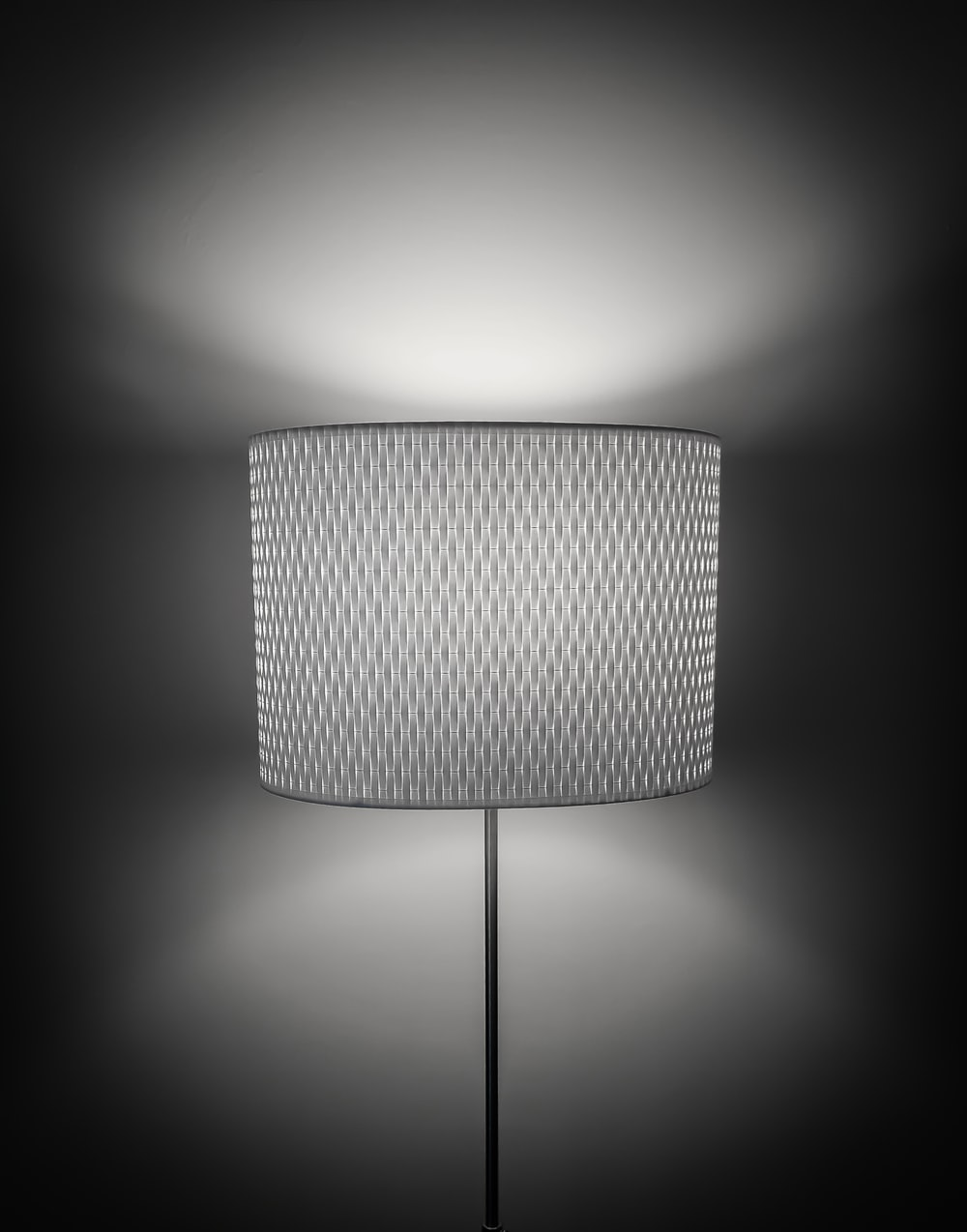 lamp on grayscale photography