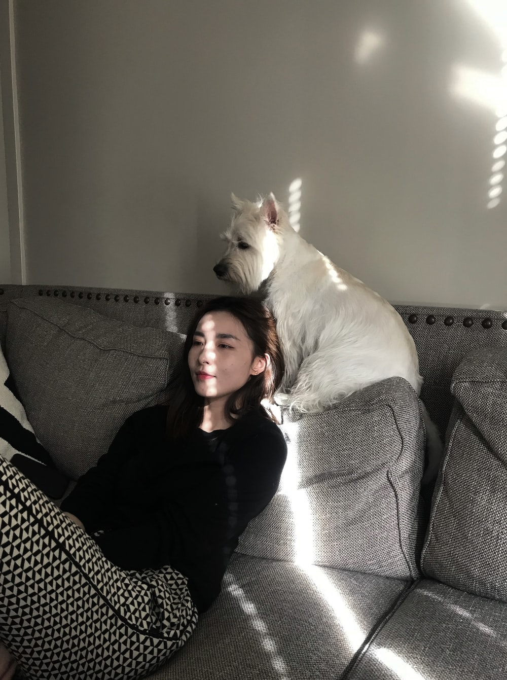 white dog beside woman sitting on couch