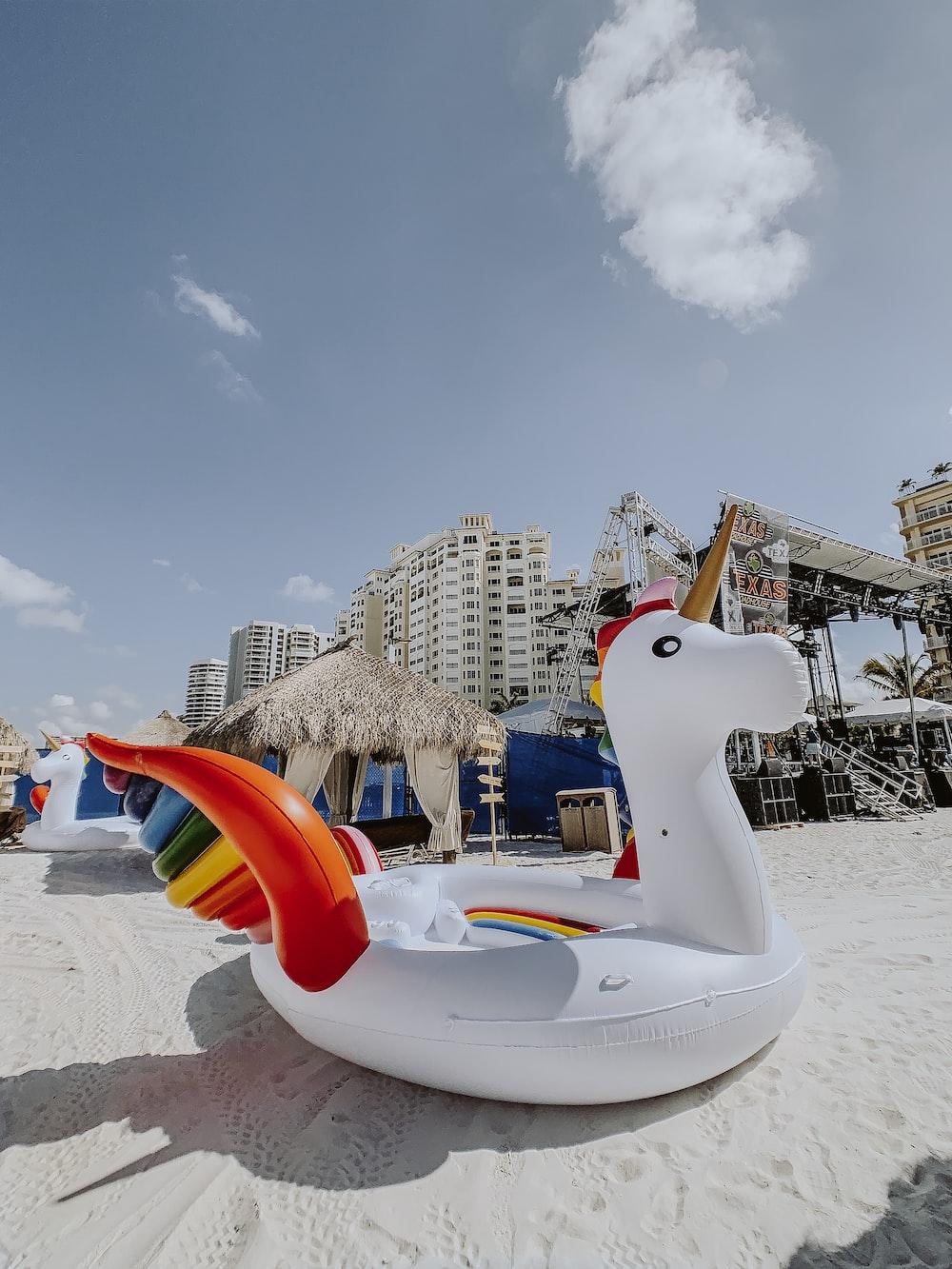 white unicorn inflatable floater