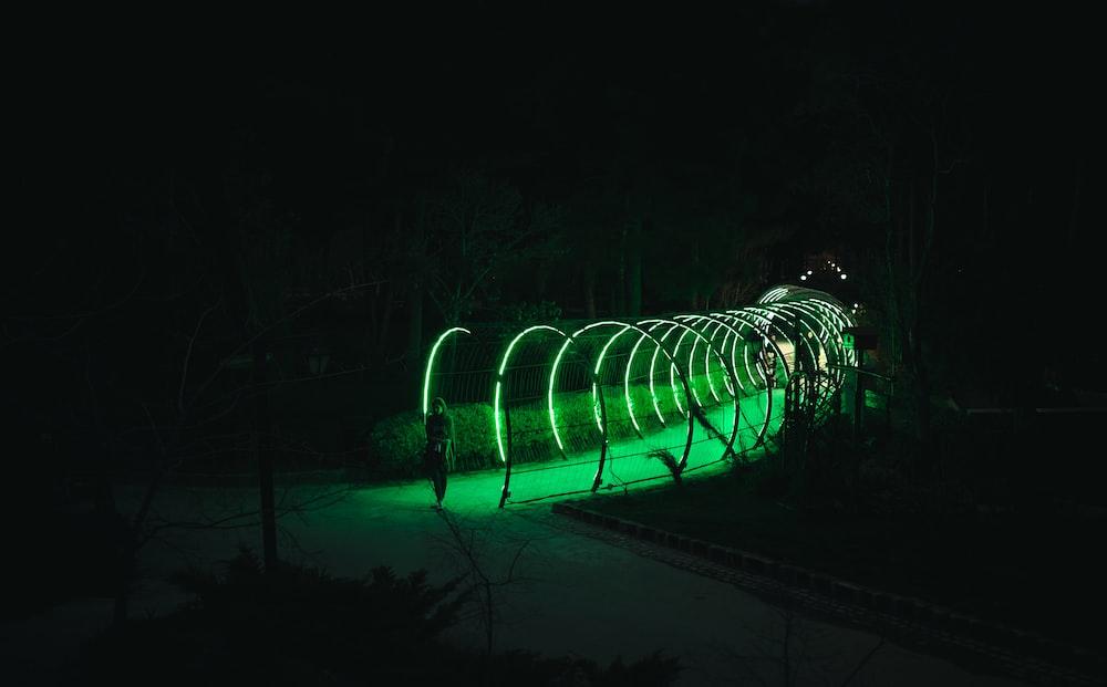 green LED lighted hallway