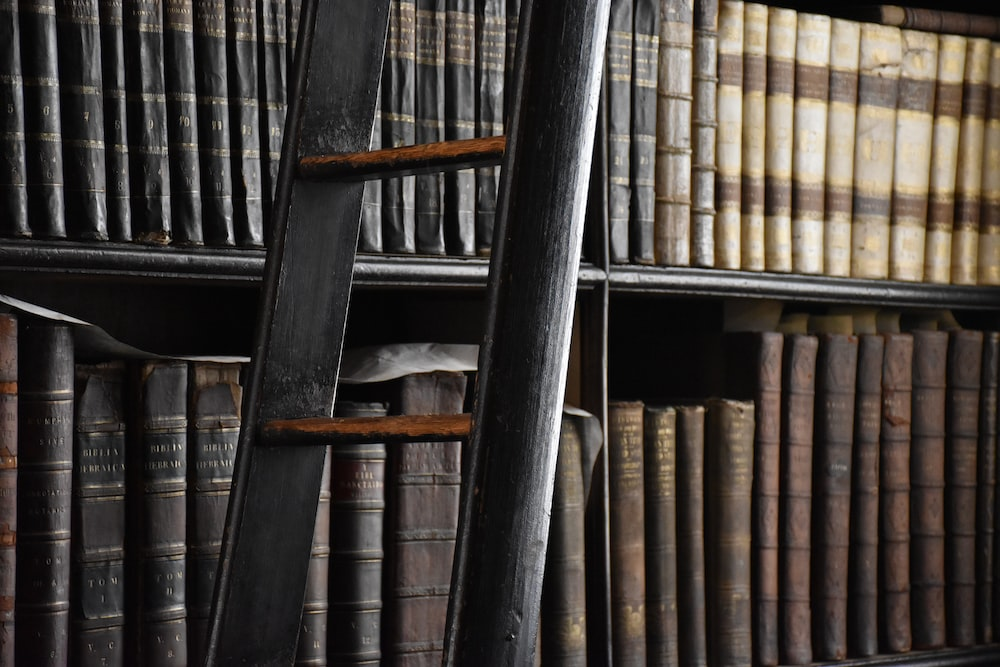 shallow focus photo of books on shelf