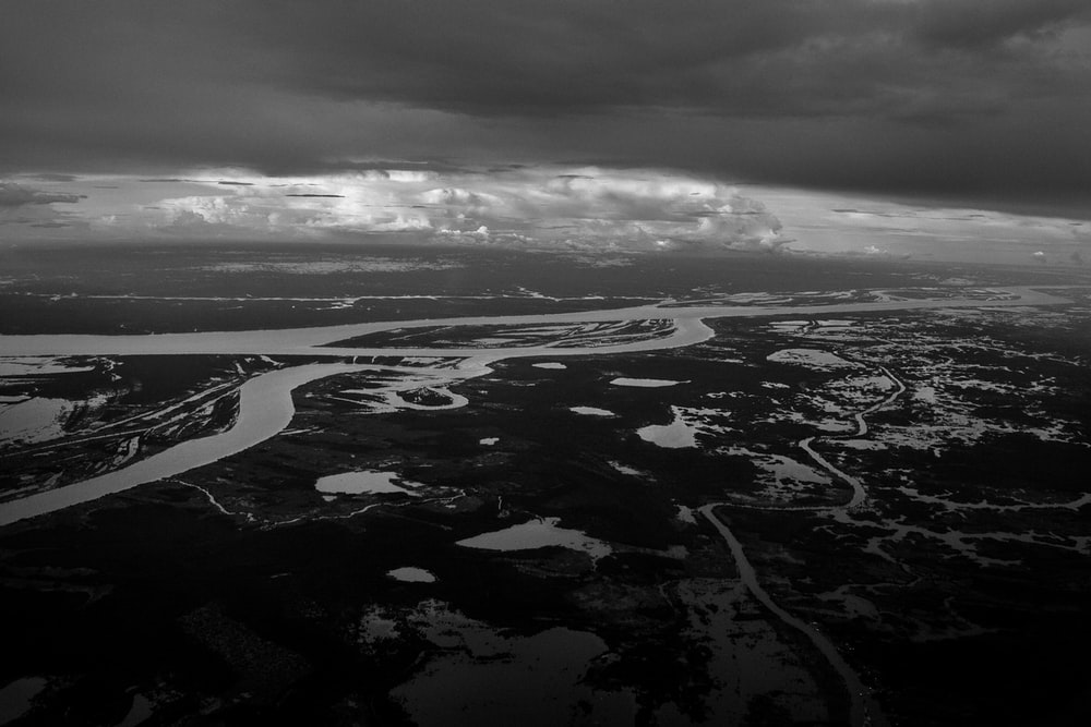 grayscale photography of aerial land