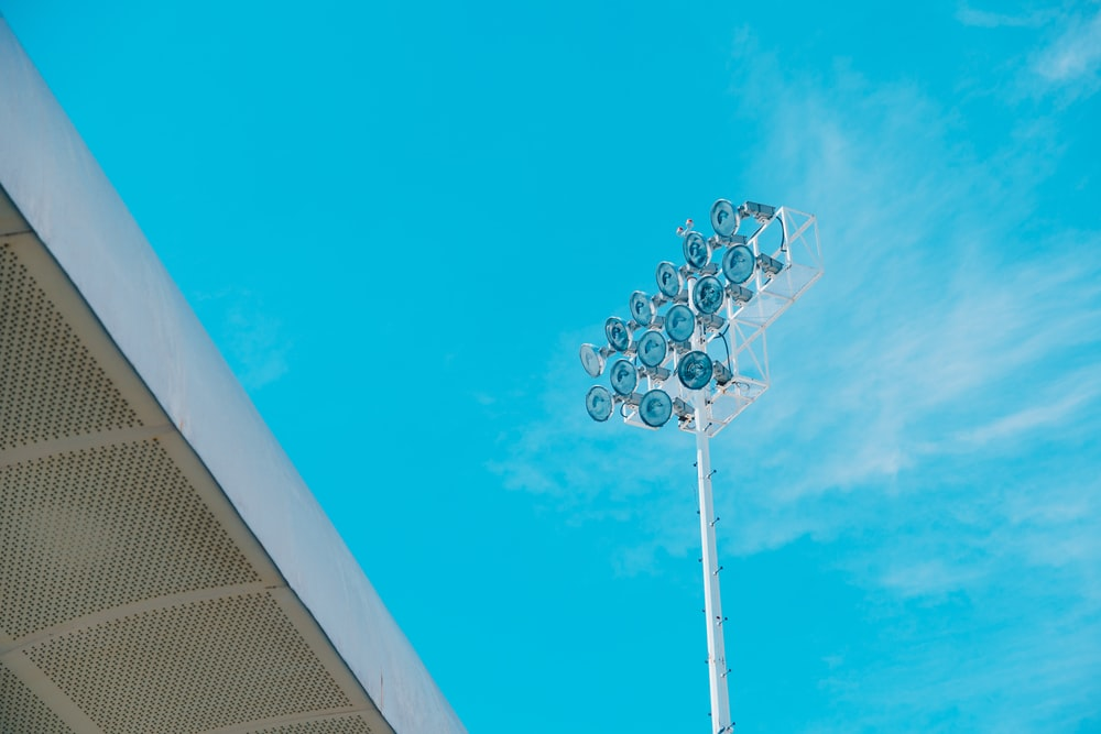 white floodlight tower