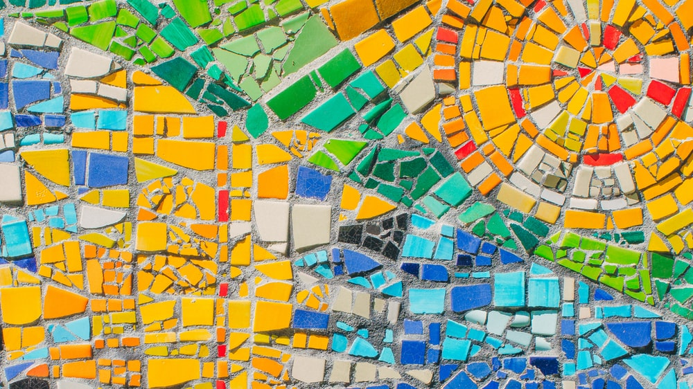 green, yellow and blue tile mosaic