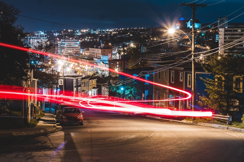 time-lapse photography of red light during nighttime