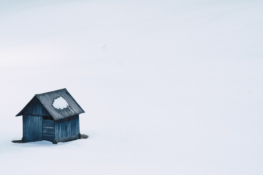 blue wooden house illustration