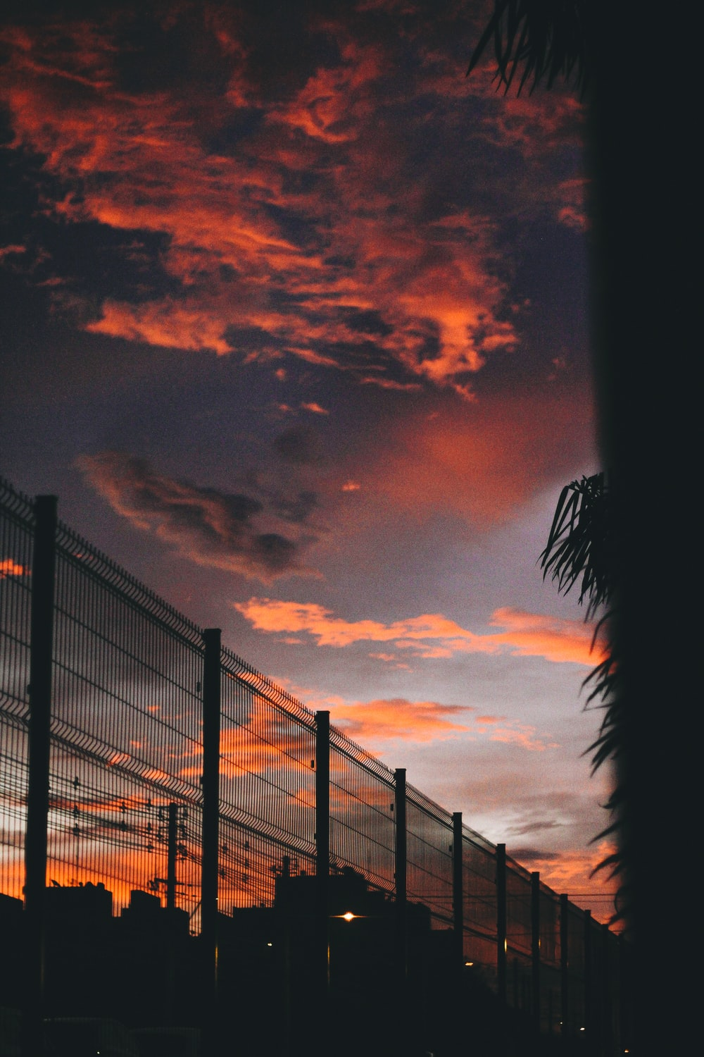 silhouette of wall grille under golden sky