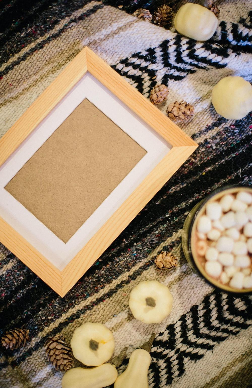 empty photo frame on black textile