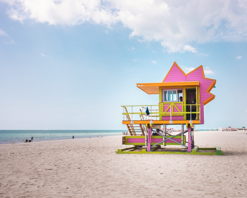 pink and orange life guard house