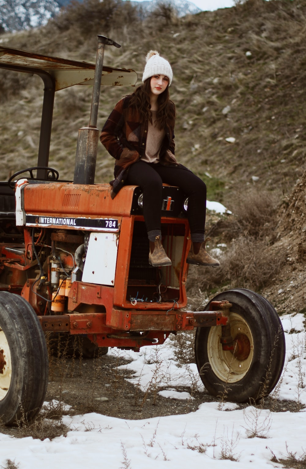woman sitting on tractor