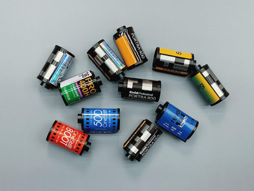 assorted camera film cartridges