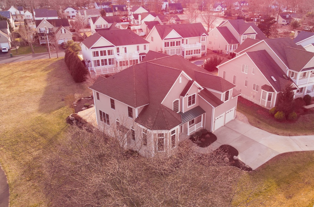 aerial photography of gray and white houses
