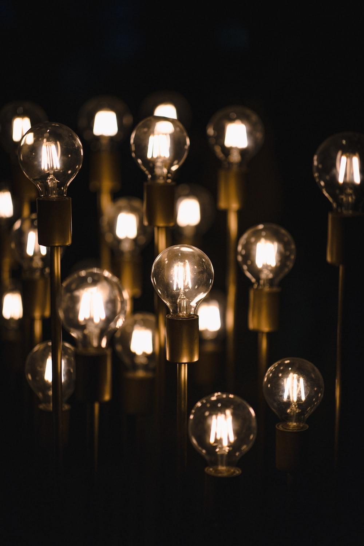 turned on light bulbs