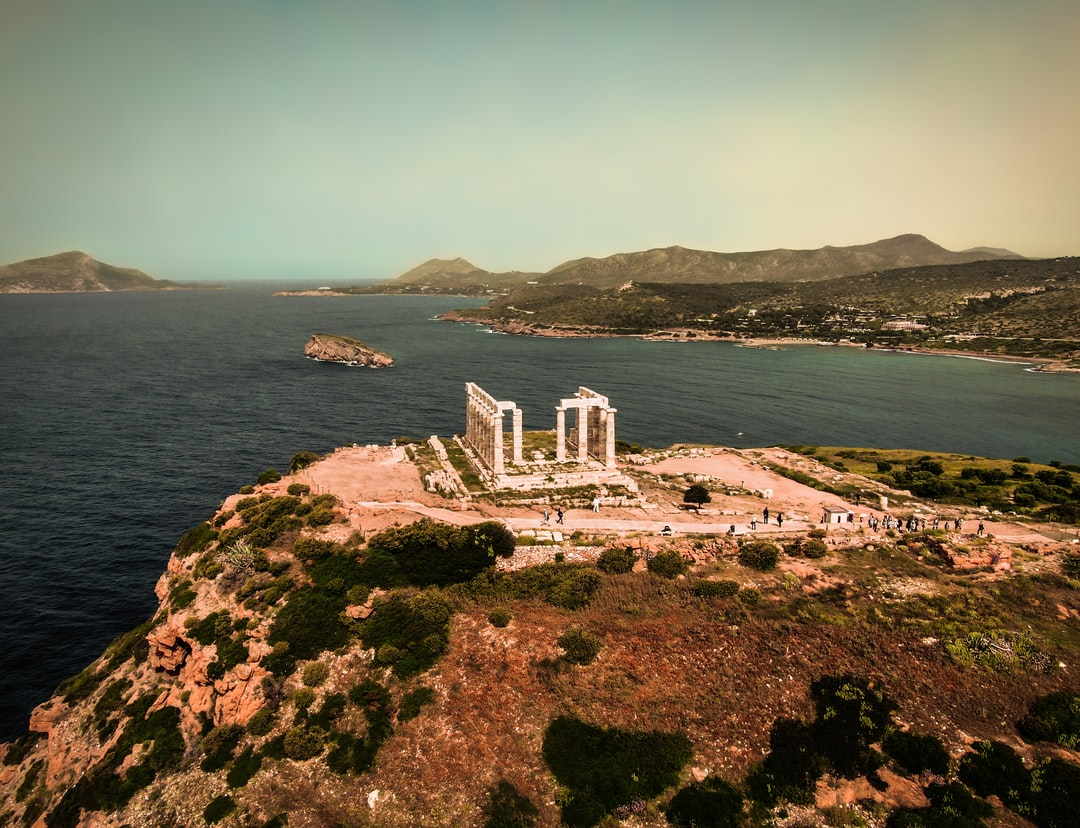 An aerial shot of the temple of Poseidon in Cape Sounion, Greece. Shot with the Mavic 2 Zoom.
