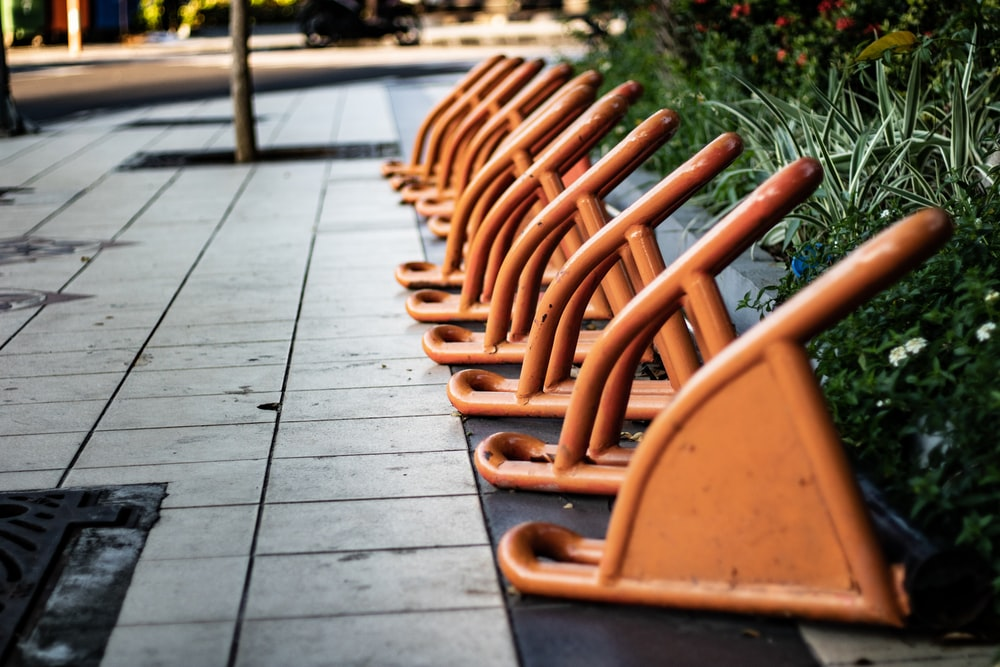 orange metal bike stands