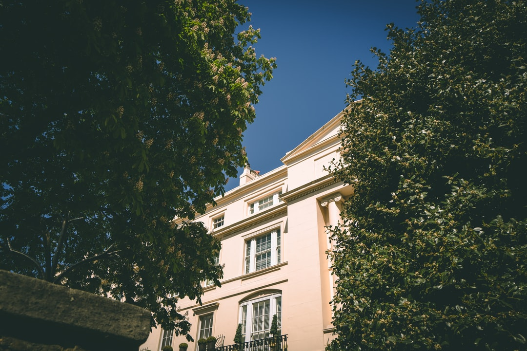 A private row of grand terraced houses adjacent to Regents Park in West London peeking out from between the trees.