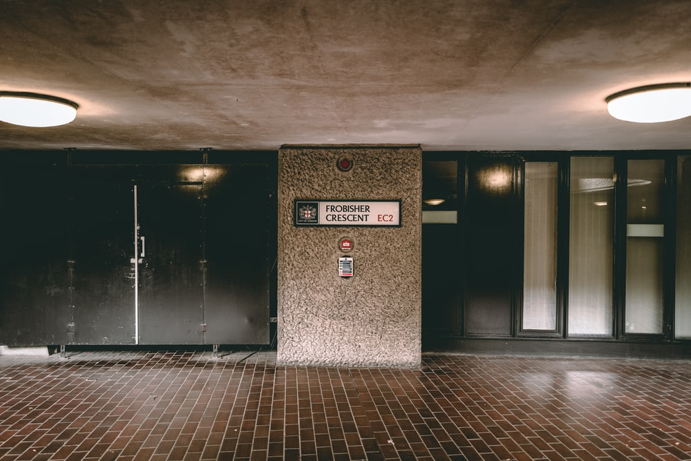 lighted empty building lobby