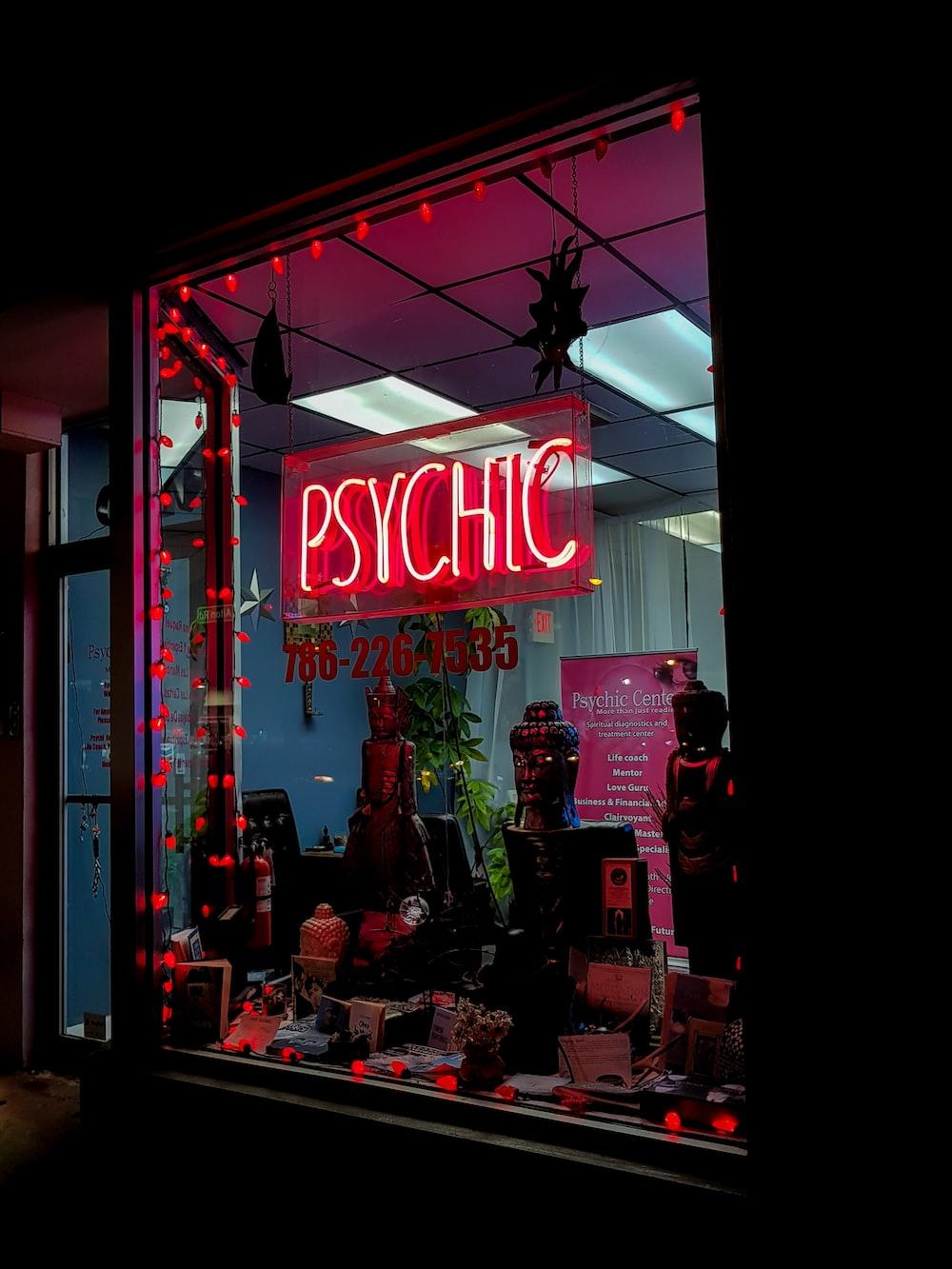 Pyschic store at nighttime