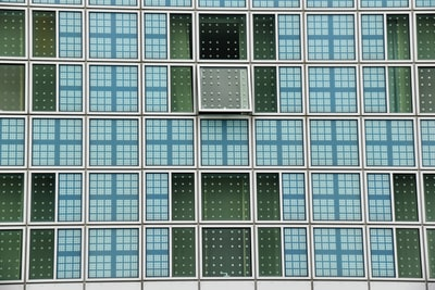 Modern Building Hilton Hotel Munich with one open window