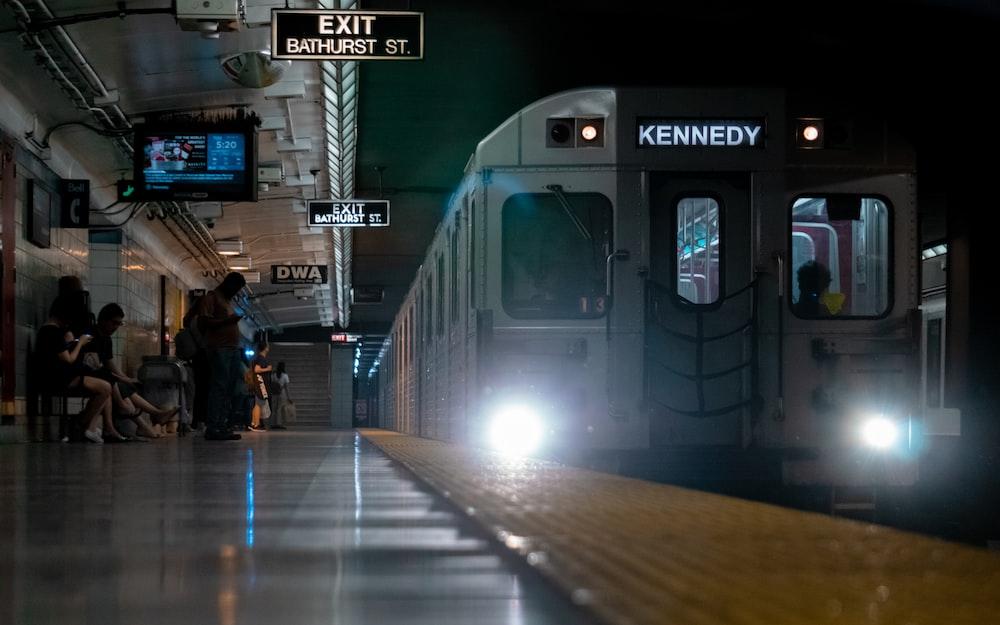 train on station at night