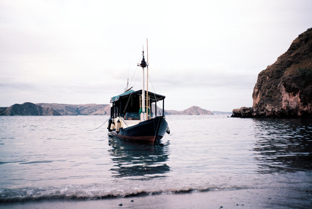 A boat docked at one of the islands in Flores, Indonesia.
