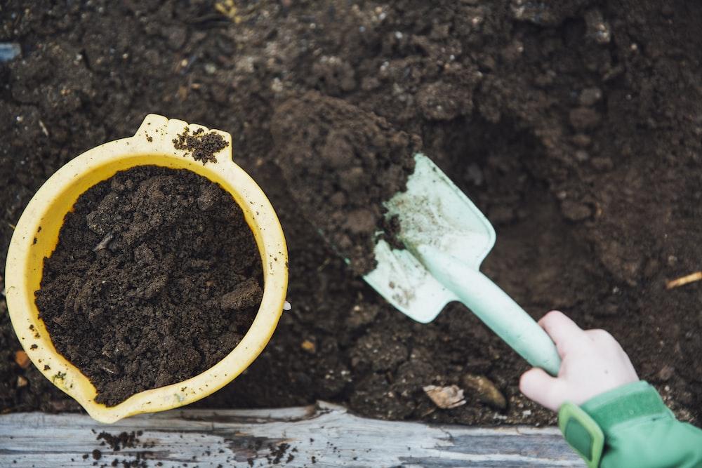 green garden shovel
