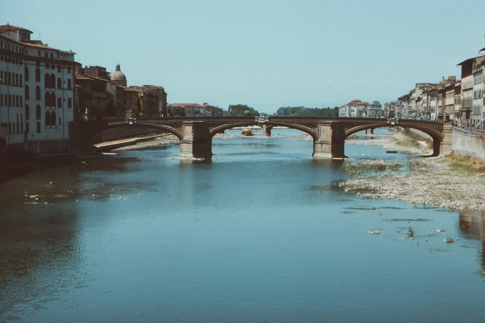 bridge on body of water connecting city