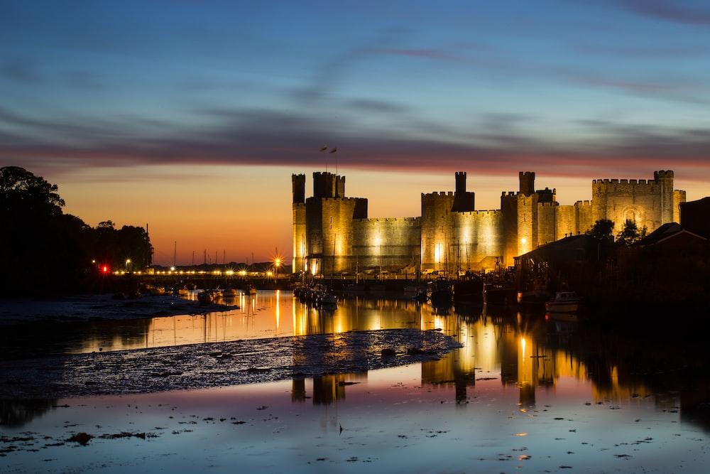 brown castle at golden hour