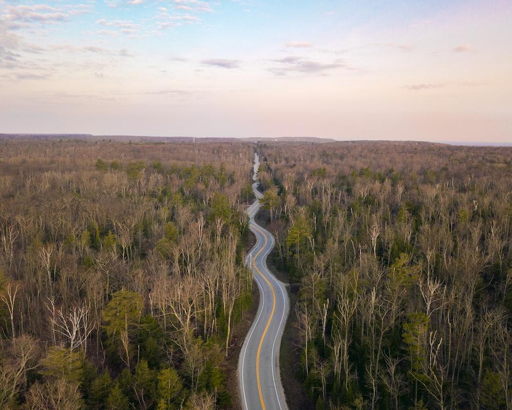 gray concrete spiral road near green field