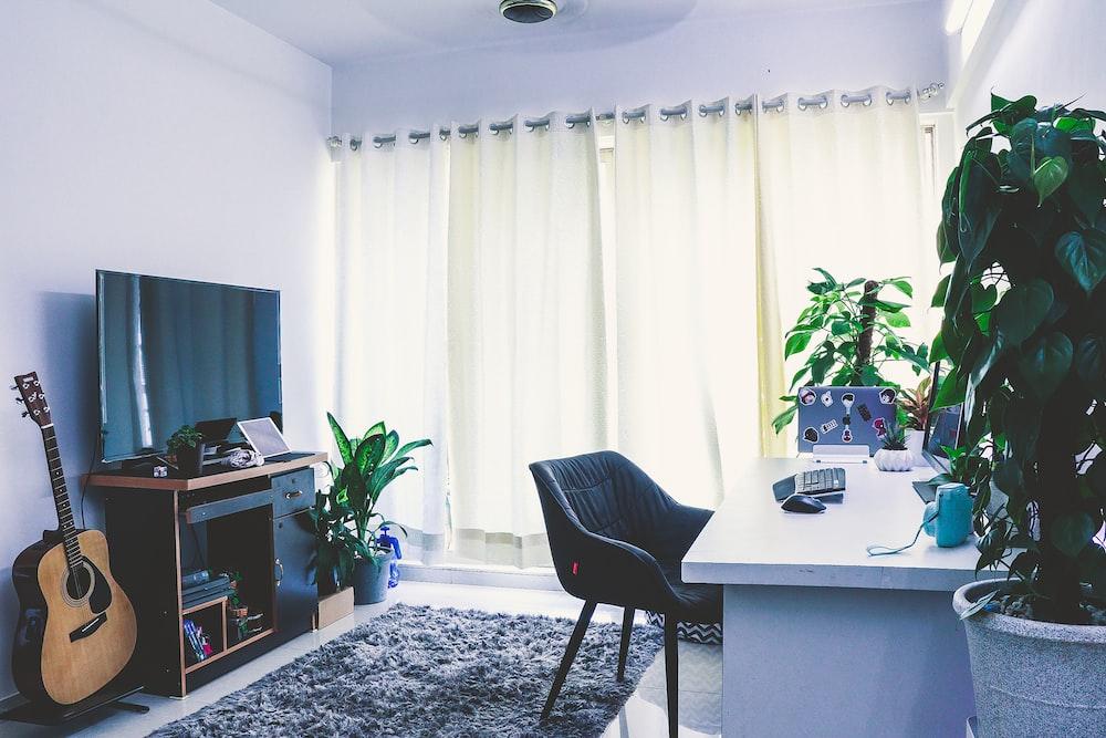 empty white wooden desk