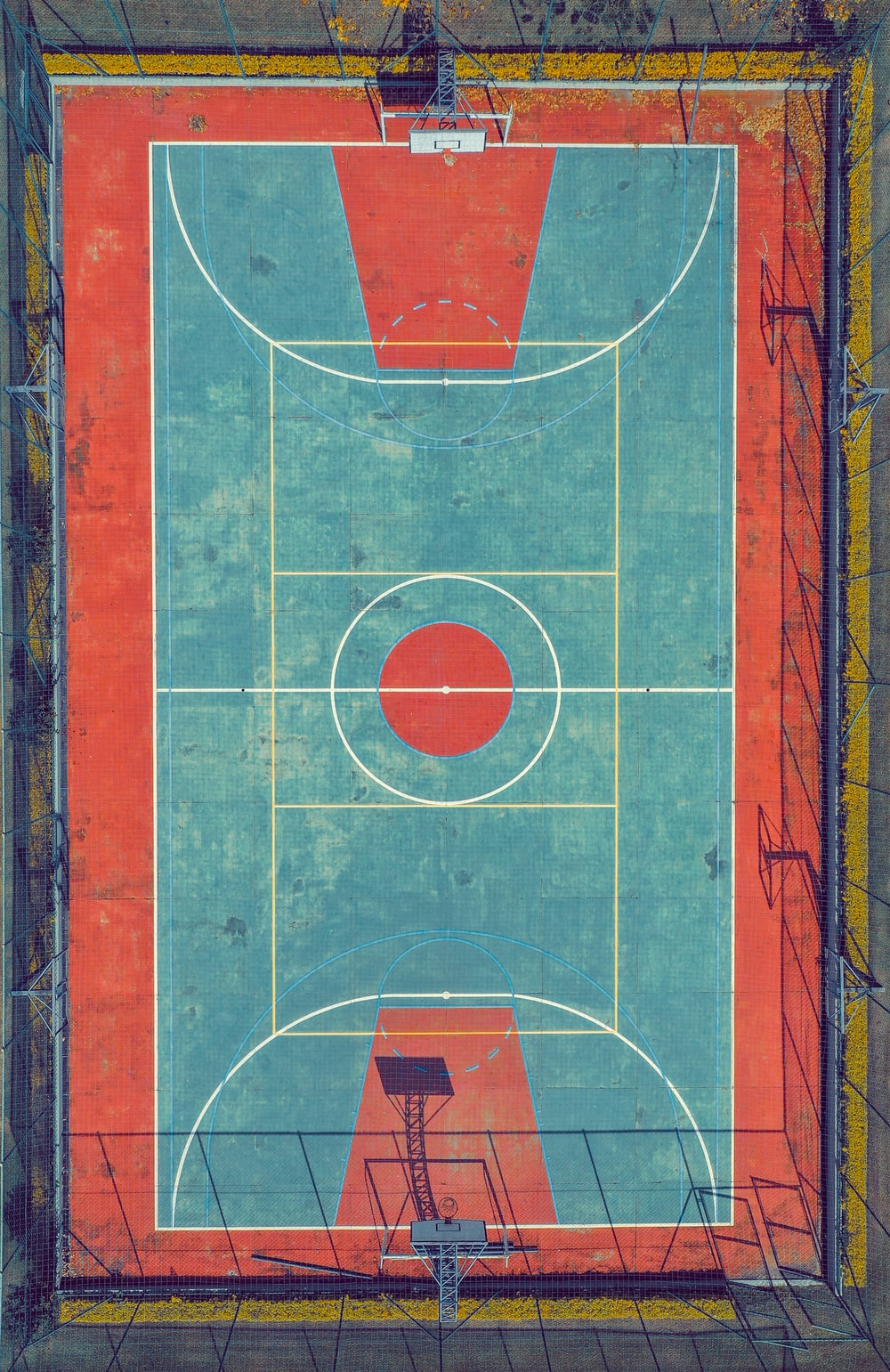 aerial photo of multicolored basketball court
